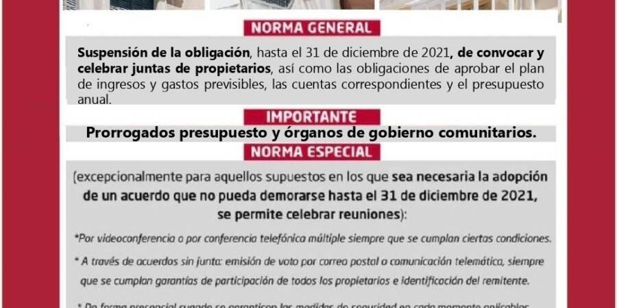 JUNTAS DE PROPIETARIOS CUANDO HA DECAÍDO EL ESTADO DE ALARMA